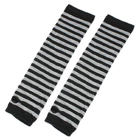 Bras Long tricot Thumbless Mitaines chauffe-mains Noir/gris rayé Paire de