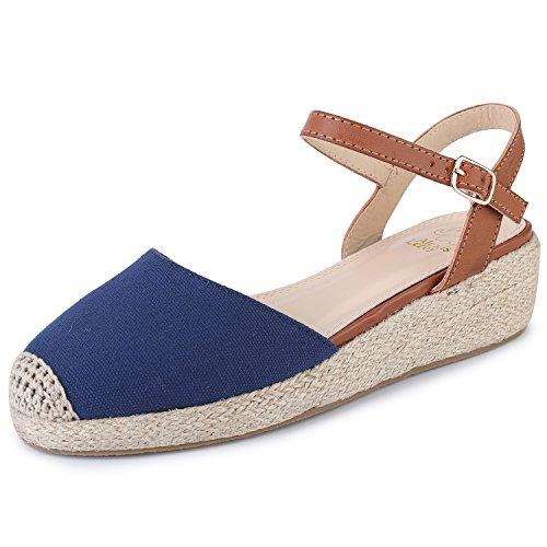 Alexis Leroy Women's Canvas Espadrilles Shoes Slingback Buckle Wedge Heel Sandals Blue 3 UK/36 EU
