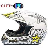 Adult Helmet Motorcycle Motorrad Full Face Helmet Motorrad-Rennhelm Send Brille,White,XL