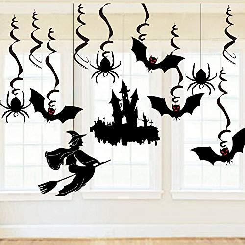 Foho Halloween Deckenhänger Deko Set Schwarz 30-tlg