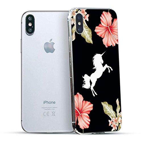 finoo | Iphone X Hard Case Handy-Hülle mit Motiv | dünne stoßfeste Schutz-Cover Tasche in Premium Qualität | Premium Case für Dein Smartphone| Elefant Line Art Bad Einhorn