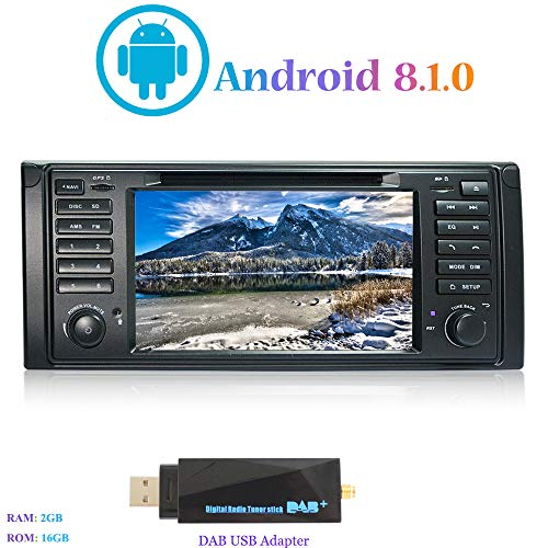 "Android 8.1.0 Autoradio, Hi-azul In-Dash Car Radio 7"" Car Stereo 4-Core GPS Navigation Moniciver Navi Car Audio mit CD/DVD-Player für BMW 5-E39/BMW X5-E53 (mit DAB USB Stick)"