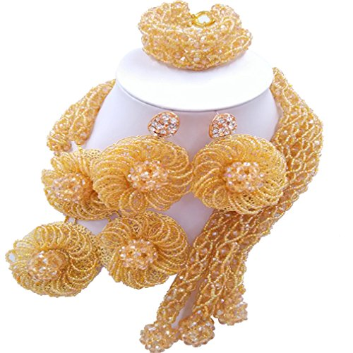 Laanc parures de bijoux-3lignes en verre de cristal de 6mm et 2mm Graines 45,7cm africain Perles du Nigeria de mariage pêche