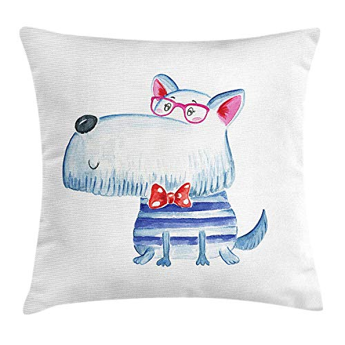 VVIANS Hipster Throw Pillow Cushion Cover, Cute Puppy Dog with Bow Tie and Glasses Nerdy Best Friends Pet Terrier Print, Decorative Square Accent Pillow Case, 18 X 18 inches, Navy Blue Grey Navy Silk Bow Tie