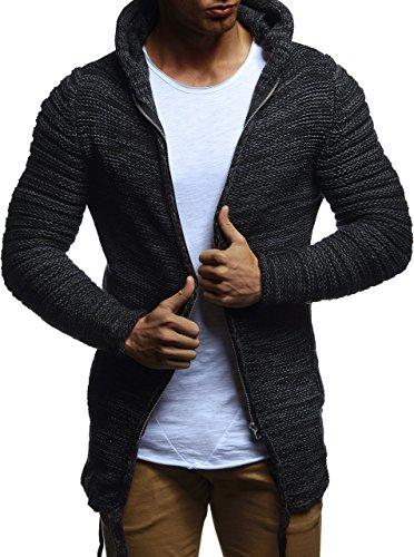 LEIF NELSON Herren Hoodie Strickjacke Jacke Kapuzenpullover Sweatjacke Zipper Sweatshirt LN20741; Gr_¤e M, Schwarz