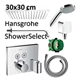 Hansgrohe Shower Select mit Fixfit Thermostat Unterputz Duscharmaturenset Duschteller 30cm