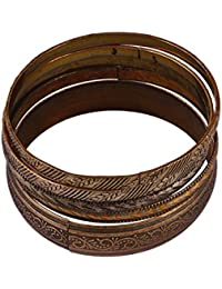 VAMA FASHIONS Antique Ethnic -brownish Copperish -black Metal Tribal Hand Cuff / Kada/Braclet /Bangle Set ( SET...