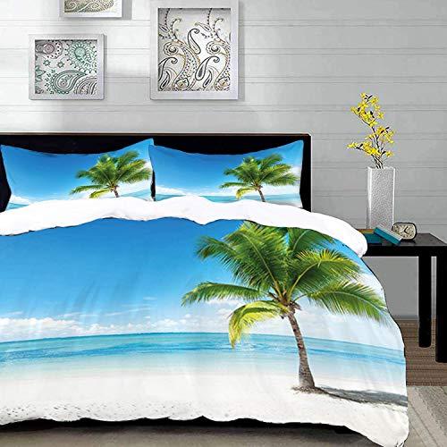 Yaoni Bettwäsche-Set, Mikrofaser,Landschaft, Karibik Malediven Strand Insel Meer Ozean Palmen Kunstwerk drucken, blau grün braun, 1 Bettbezug 200 x 200cm + 2 Kopfkissenbezug 80x80cm