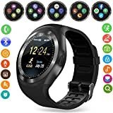 Yobeso Y1 Smart Watch Bluetooth SmartWatch Touchscreen Sport Fitness Tracker da polso con carta SIM e Fotocamera slot per schede TF Messaggio Notifiche Sleep Monitor per iPhone Samsung e smartphone Android (Black)