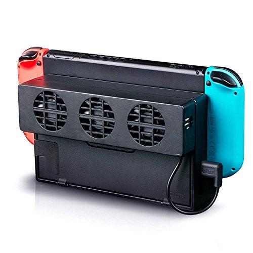 Linkstyle Ventilador de enfriamiento Compatible con Nintendo Switch, alimentación Externa por USB Ventilador de enfriamiento Estación de Acoplamiento con 3 Ventiladores pequeños Ventilador
