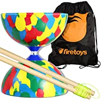 Jester Medio diábolo (4 Color) con Firetoys palillos de madera Diabolo (cadena incl) y FT Bolsa