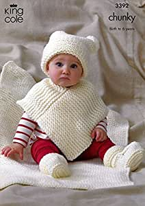 King Cole Baby Hat, Poncho, Booties & Blanket Comfort Chunky Knitting Pat...
