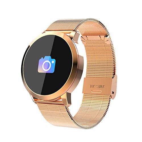 RanGuo Bluetooth Smartwatch für Herren Damen Kinder, Outdoor Sports Intelligente Armbanduhr für Android und ios System, Support-Anruferinnerung und Nachrichtenerinnerung (Stahlband, Gold)