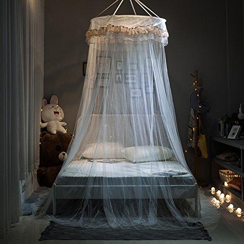 ODIUHEOHF Extra große größe runde hoop bett baldachin netting moskitonetz passen krippe, Twin, Vollständige, Königin, König-Weiß 135x200cm(53x79inch) (Weißer Hoop Baldachin)