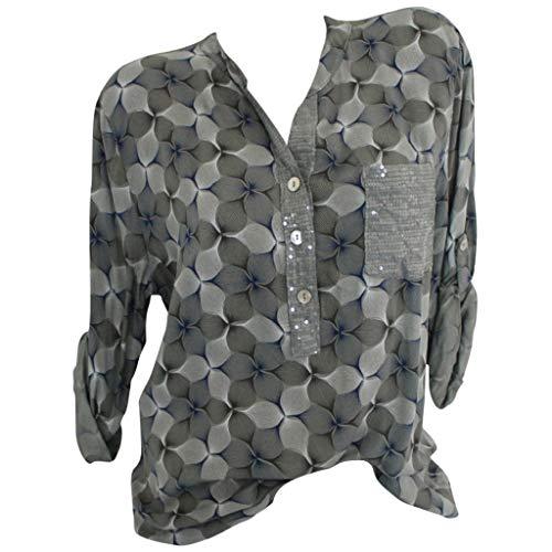Femme Printemps été Tops,Rifuli® Polka Dot Printed Stehkragen Langarm Stirnband Patch Pocket Bluse Poloshirts Tanktops Fitness T-Shirts Blusen Camisole sans Manches Vest