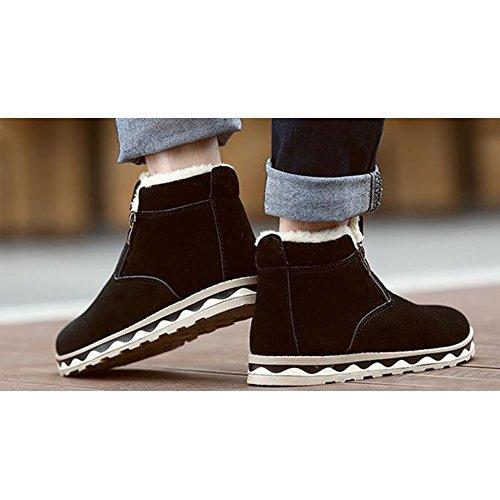 SGoodshoes Hommes Bottes de Neige Fourrure Doublé Chaud Chaussure Hiver Neige Bottines Noir
