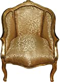 Casa Padrino Barock Damen Salon Sessel Gold Muster/Gold Mod2 - Luxus Antik Stil Wohnzimmer Möbel