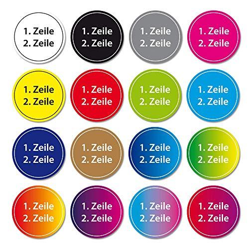 Namensaufkleber 2-zeilig Etikett rund 35x35mm Sticker Kinder Büro Schule Kleidung (50 Stück)