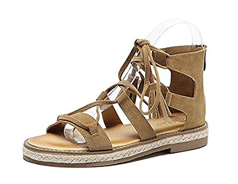 L&Y Women Open Toe Pumps 2017 Summer New Cross Strap Sandals Flat Fringed Roman Shoes Chaussures plates à grande taille ( Couleur : Le jaune , taille : 35 )