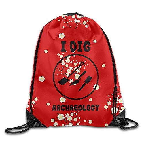 I Dig Archaeology Drawstring Gym Sport Bag, Large Lightweight Gym Sackpack Backpack for Men and Women