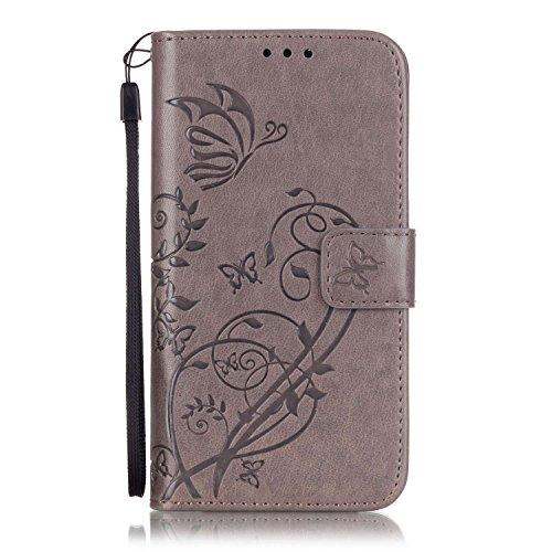Prägen Blumen-Case, Magnetverschluss Synthetische PU-Leder-Kasten-Abdeckung mit hängenden Seil und Wallet-Funktion für Samsung S5 MINI ( Color : Pink , Size : Samsung S5MINI ) Gray