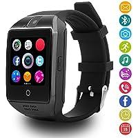 LATEC Reloj Inteligente con Cámara Tarjeta SIM / TF, Notificación de WhatsApp Facebook, Twitter, Monitor de Sueño, Podómetro, Bluetooth Smartwatch, Alertas de mensajes para Teléfono Android