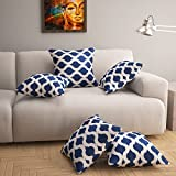#6: Story@Home Navy Blue And White Premium Printed 16 x 16 inches Cushion Cover set of 5 Pcs