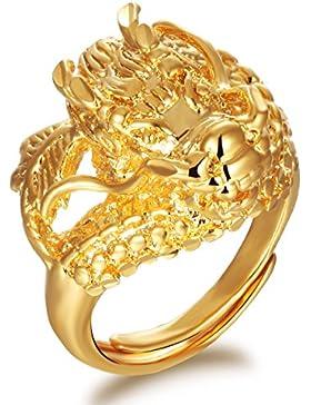 OPK Jewellery Luxus 18K Gelb Vergoldet Dragon Herren Cocktail Party Ring Band Größe verstellbar
