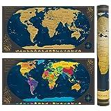 Weltkarte zum Rubbeln mit BONUS Weltwandplakate Personalisiertes Poster| Memory Aufklebe | Lupe | Rubbelchip, Geburtstagsgeschenk, Geschenk für Reisende Oder Rucksacktourismus (Schwarz | 84 x 42 cm)