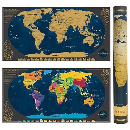 Pootack Mapa mural rascar Mundo 840*420mm