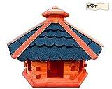 Vogelhaus, Vogelvilla MEGA-XXL Vogelhaus, Gartendeko aus Holz Vogelhaus, blaue B70blOS Dachschindeln Bitumen