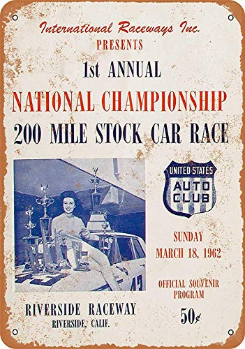 Wise Degree 1962 Riverside Raceway 200 Stock Car Race Metallblechschild Poster Wand K¨¹Che Kunst Cafe Garage Shop Bar Dekoration