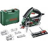 Bosch Säge AdvancedCut 50 mit NanoBlade Technologie, Sägeblatt, Schutzkappe, Splitterschutz, Koffer (500 Watt)