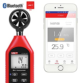 Bluetooth Anemometer Handheld UNI-T UT363BT Handheld Mini Digital Anemometer with Thermometer and Max/Min for Weather Data Collection and Outdoors Sports Windsurfing Sailing With Backlight LCD Display