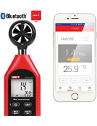 Anemómetro Bluetooth hecho a mano, UNI-TUT363BT Mini Anemómetro Digital de Mano con Termómetro