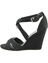 8d218fc3995e GUESS G Women s Harpee Fabric Open Toe Special Occasion Platform Sandals  Black 9 B(M
