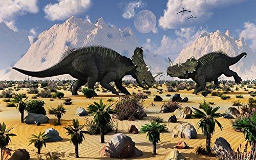 Mark Stevenson/Stocktrek Images – A pair of Centrosaurus dinosaurs involved in a territorial dispute. Photo Print (91,44 x 56,90 cm)