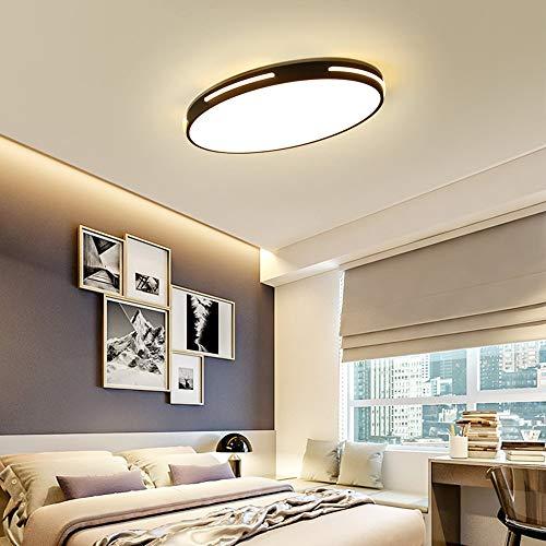 8 Licht Kronleuchter Oval (Ultra Thin Deckenleuchte LED 3 Farbe Dimmbar Oval Modern Design Deckenlampe Kleines Schlafzimmer Arbeitszimmer Beleuchtung Leuchte Einfach Decken Eisen Acryl Lampe 58cm * 38cm * 5cm 24W (Schwarz))