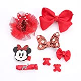 Finsink 8pcs Haarspange Haarnadeln Baby Mädchen Kinder Haarclips mit Geschenkbox, rot, Mickey