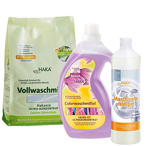 HAKA Set Natürliche Pflege I Vollwaschmittel Pulver 3 kg I Colorwaschmittel Flüssig 2 Liter I Maschinenreiniger 1 Liter I Rundumpflege Set für die Wäschepflege