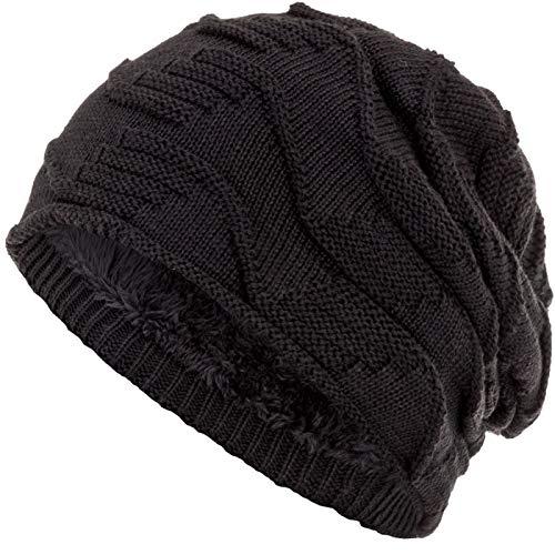 Compagno Mütze warm gefütterte Wintermütze elegantes Strickmuster Beanie Einheitsgröße, Farbe:Schwarz