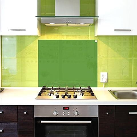 Pantalla antisalpicaduras de cristal / Panel de vidrio templado para cocina, 75 x 60 cm, Verde