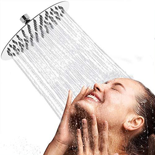 Artbath Soffione doccia con anticalcare in Acciaio Inox Docce fisse a Risparmio Idrico rotondo diametro 20 x20 cm