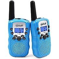 Tyhbelle 2 x Kinder Walkie Talkie PMR446 lizenzfrei 8 Kanäle Funkgerät mit LCD-Display und Lampe VOX-Funktion Walky talky Ideal für Geschenk (2er-Blau)