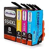 OfficeWorld Ersatz für HP 934 935 Druckerpatronen 934XL 935XL Hohe Kapazität Kompatibel für HP Officejet Pro 6830 6820 6230 6812 6815 6835 Drucker (1 Schwarz, 1 Cyan, 1 Magenta, 1 Gelb)