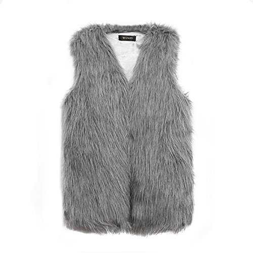 Vlunt - Chaleco para mujer, de pelo largo piel sintética gris gris