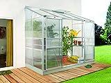 Anlehngewächshaus Ida - Ausführung: 3300 HKP 4 mm Alu, Fläche: ca. 3,3 m², mit 1 Dachfenster, Sockelmaß: 1,28 x 2,54 m
