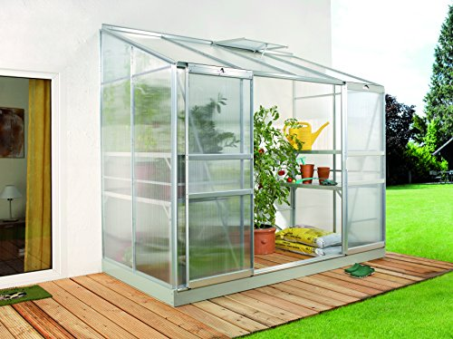 Gartenwelt Riegelsberger Anlehngewächshaus Ida – Ausführung: 3300 HKP 4 mm Alu, Fläche: ca. 3,3 m², mit 1 Dachfenster, Sockelmaß: 1,28 x 2,54 m