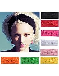 8 Pièces/lot Bandeau Cheveux Nœud d'oreille de Chat Turban Noué Bande Elastique Cheveux Accessoire Cheveux pour Femme