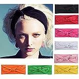 8Pieces/Lot Bandeau Cheveux Nœud d'oreille de Chat Turban Noué Bande Elastique Cheveux Accessoire Cheveux pour Femme (1)